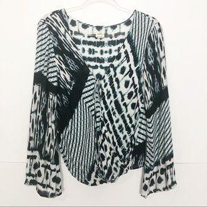 EUC O'Neill mixed print wrap tie front blouse